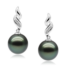 9-10mm AAA Quality Tahitian Cultured Pearl Earring Pair in Seductive Black