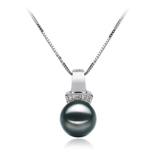 8-9mm AAA Quality Japanese Akoya Cultured Pearl Pendant in Vivian Black