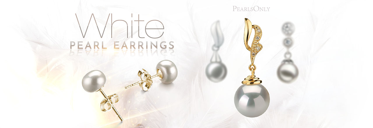 PearlsOnly White Pearl Earrings